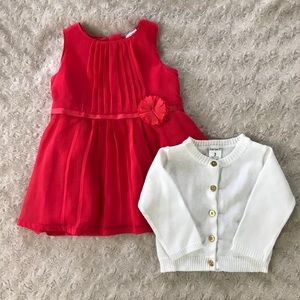 Carter's Baby Girl Dress & Sweater Pleated Flower